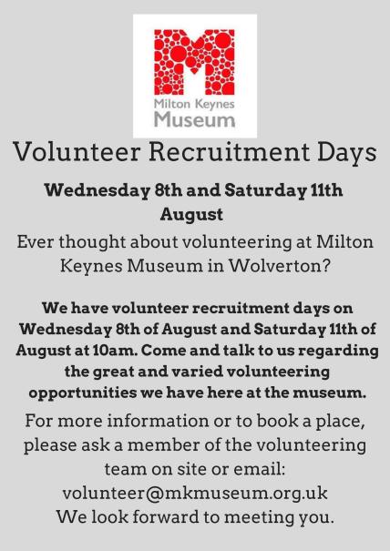 Volunteer Recruitment Days MK Museum
